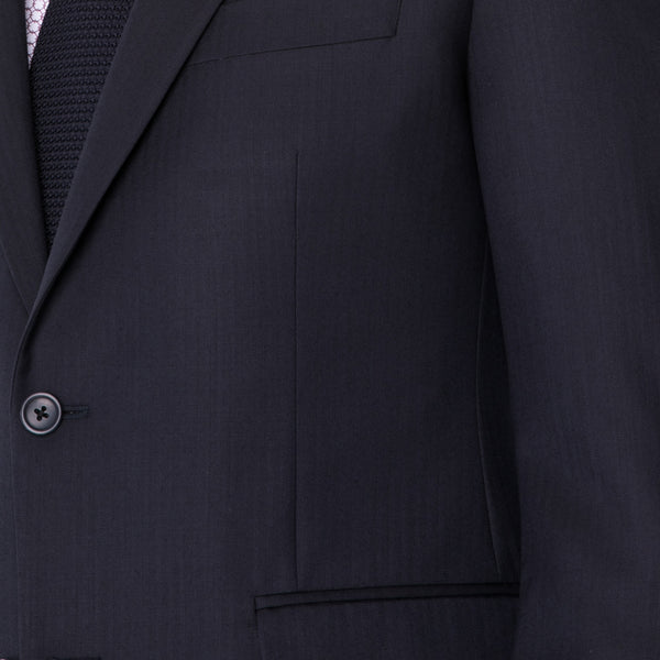 Navy Herringbone Suit - Sydney's, Toronto, Bespoke Suit, Made-to-Measure, Custom Suit,