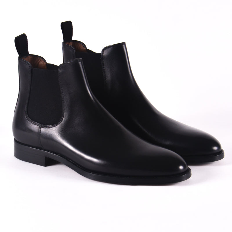 Made In Italy Leather Chelsea Boot, Black