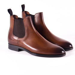 Made In Italy Leather Chelsea Boot, Burnished Cuoio