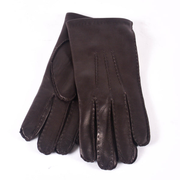 KIN Leather Cashmere Lined Gloves, Dark Brown