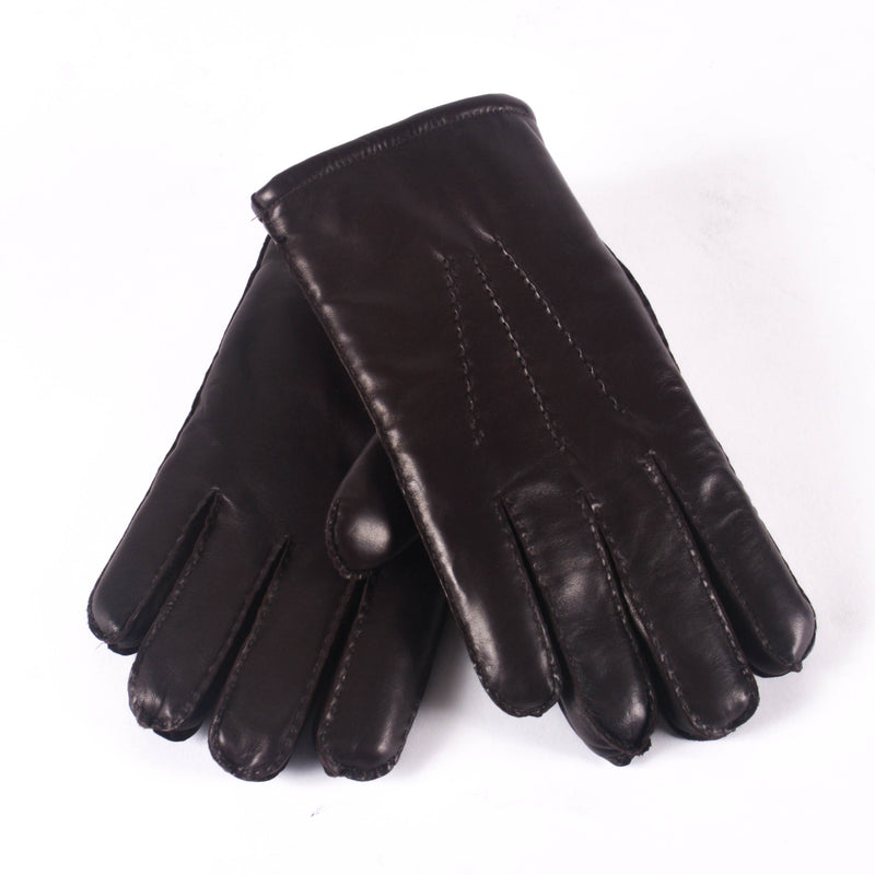 KIN Leather Lined Gloves, Dark Brown