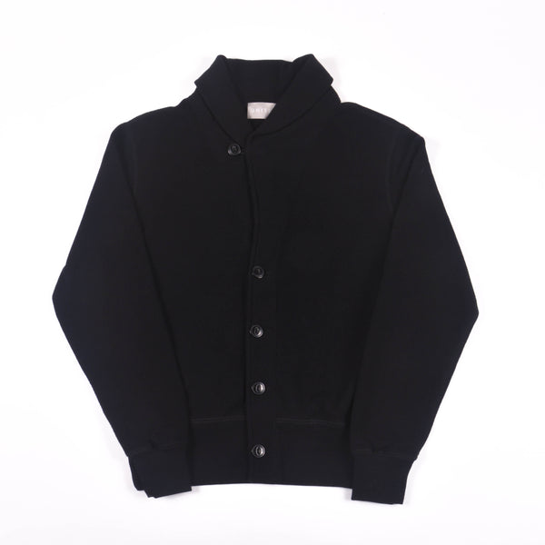 Black 14 oz Cotton French Terry Shawl Cardigan