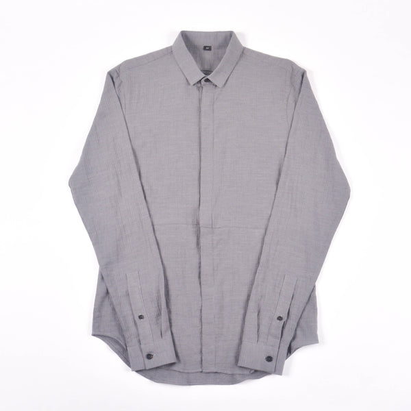 NIHL Button Down Shirt, Grey Brushed Herringbone