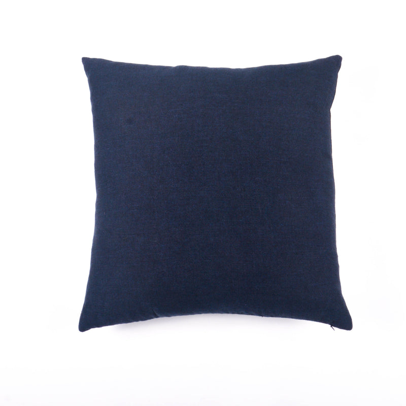 Cotton Linen Square Cushion Cover, Navy & Black Diagonal Hopsack