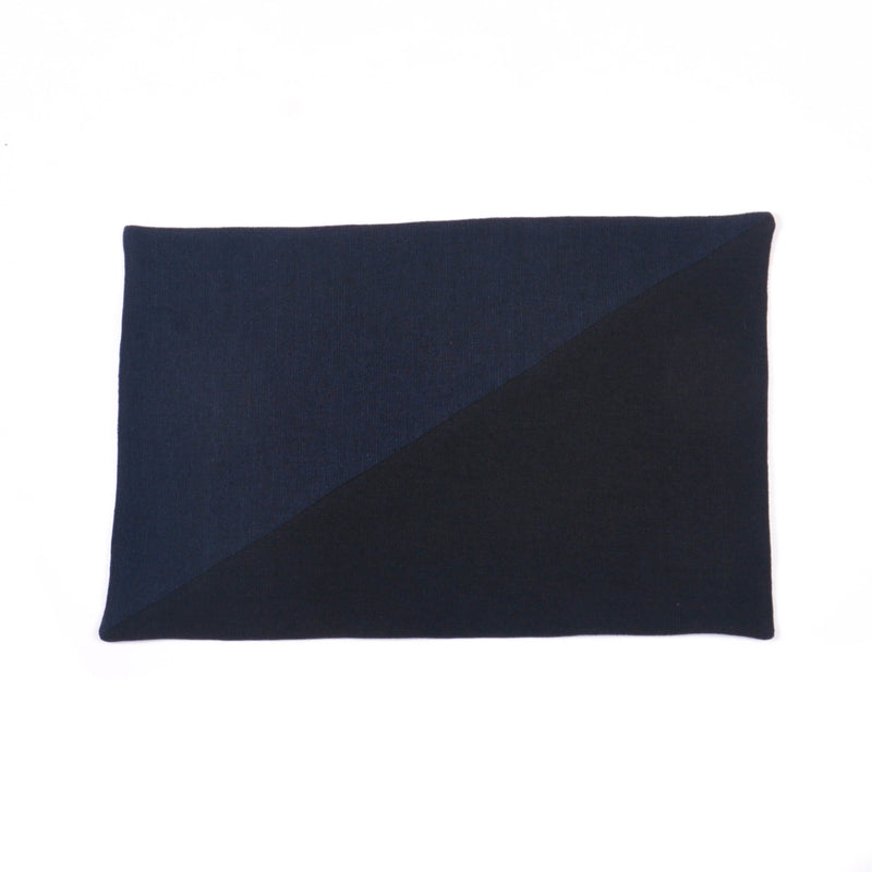 Cotton Linen Rectangular Placemat, Navy & Black Diagonal Hopsack