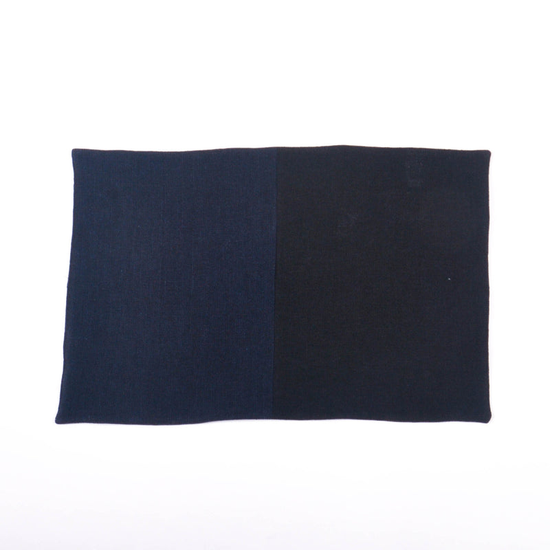 Cotton Linen Rectangular Placemat, Navy & Black Split Hopsack