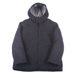 Hooded Parka, Charcoal Wool Melton