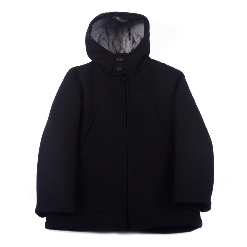 Hooded Parka, Black Wool Melton