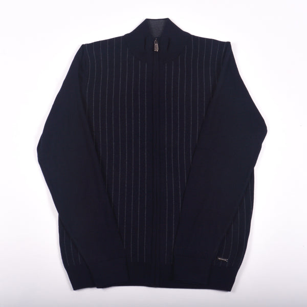Pinstripe Merino Wool Zip Sweater, Navy & Grey