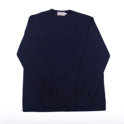 Midnight Navy Classic Cotton Crewneck Long Sleeve T-Shirt
