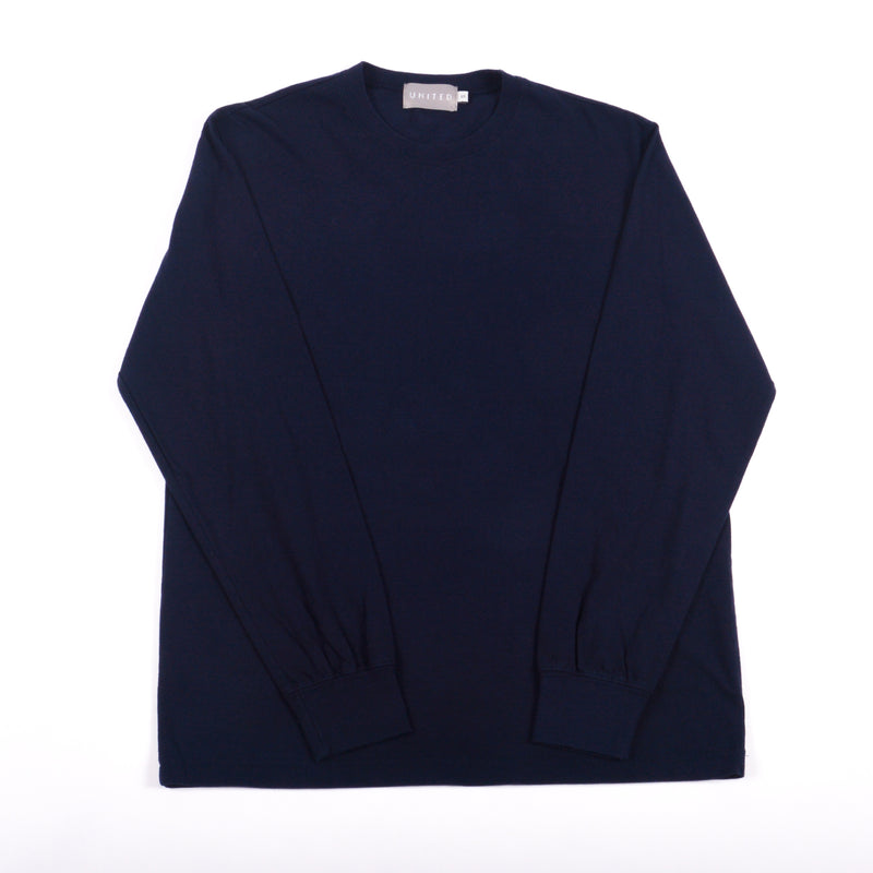 Classic Cotton Crewneck Long Sleeve T-Shirt, Midnight Navy