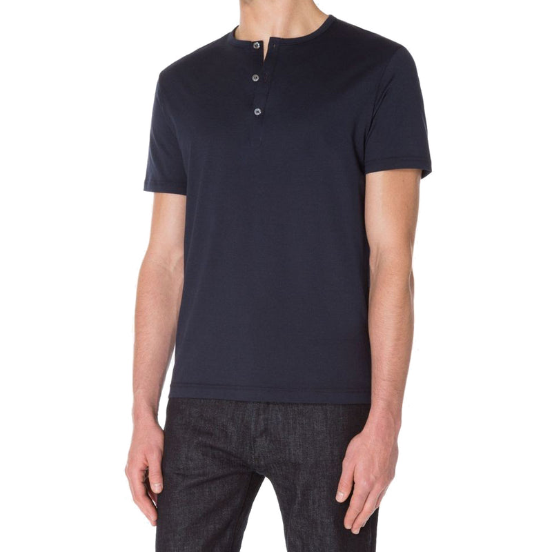 Navy S/S Organic Henley T-Shirt - Sydney's, Toronto, Bespoke Suit, Made-to-Measure, Custom Suit,