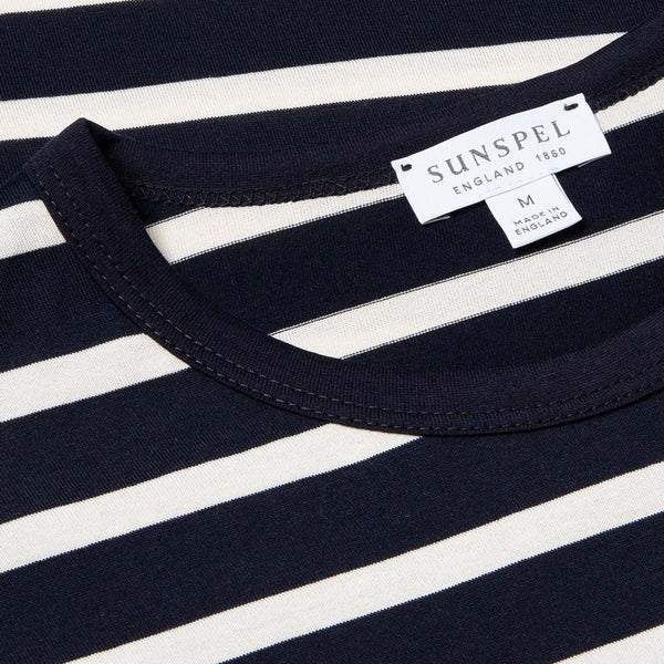Navy/Ecru S/S Striped Crew Neck T-Shirt - Sydney's, Toronto, Bespoke Suit, Made-to-Measure, Custom Suit,