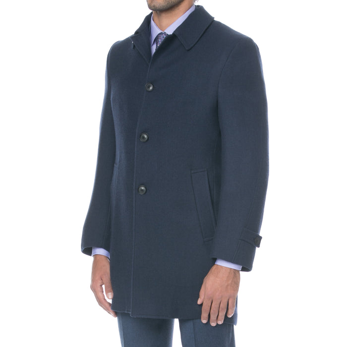 Navy Wool Twill Coat