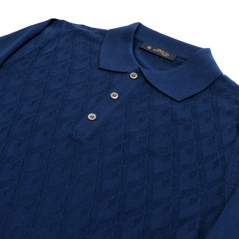 ON-LINE EXCLUSIVE Wool Jacquard Long Sleeve Knit Polo Sweater, Cobalt