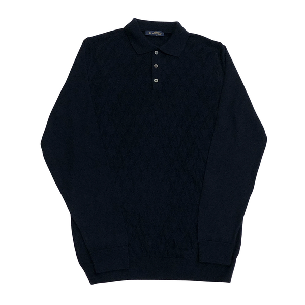 ON-LINE EXCLUSIVE Wool Jacquard Long Sleeve Knit Polo Sweater, Black