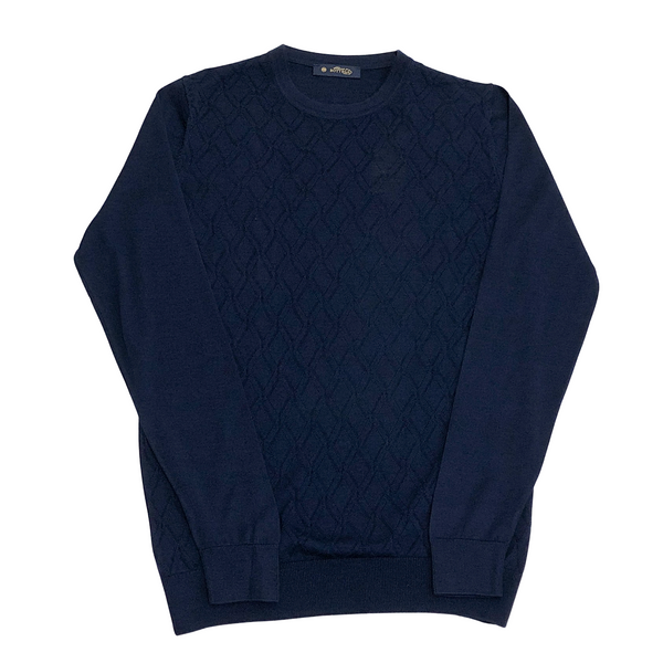 ON-LINE EXCLUSIVE Wool Silk Jacquard Crewneck Sweater, Cobalt