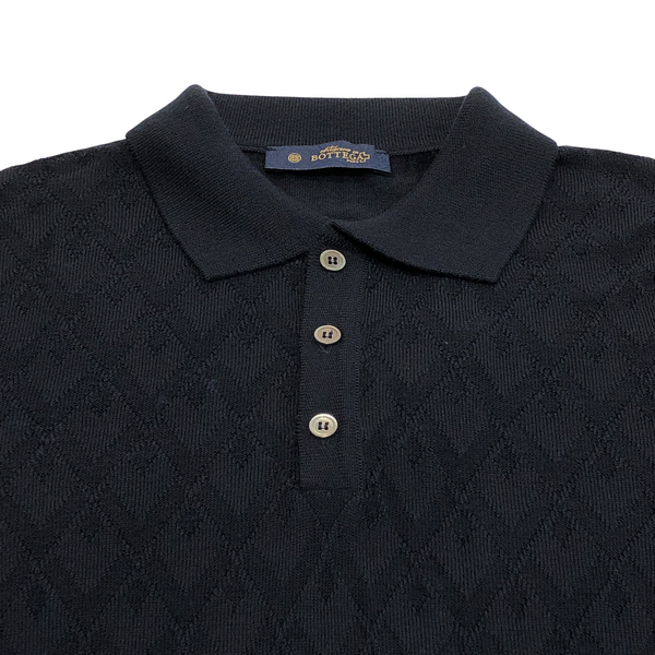 ON-LINE EXCLUSIVE Wool Jacquard Long Sleeve Knit Polo Sweater, French Navy