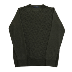 ON-LINE EXCLUSIVE Wool Silk Jacquard Crewneck Sweater, Olive