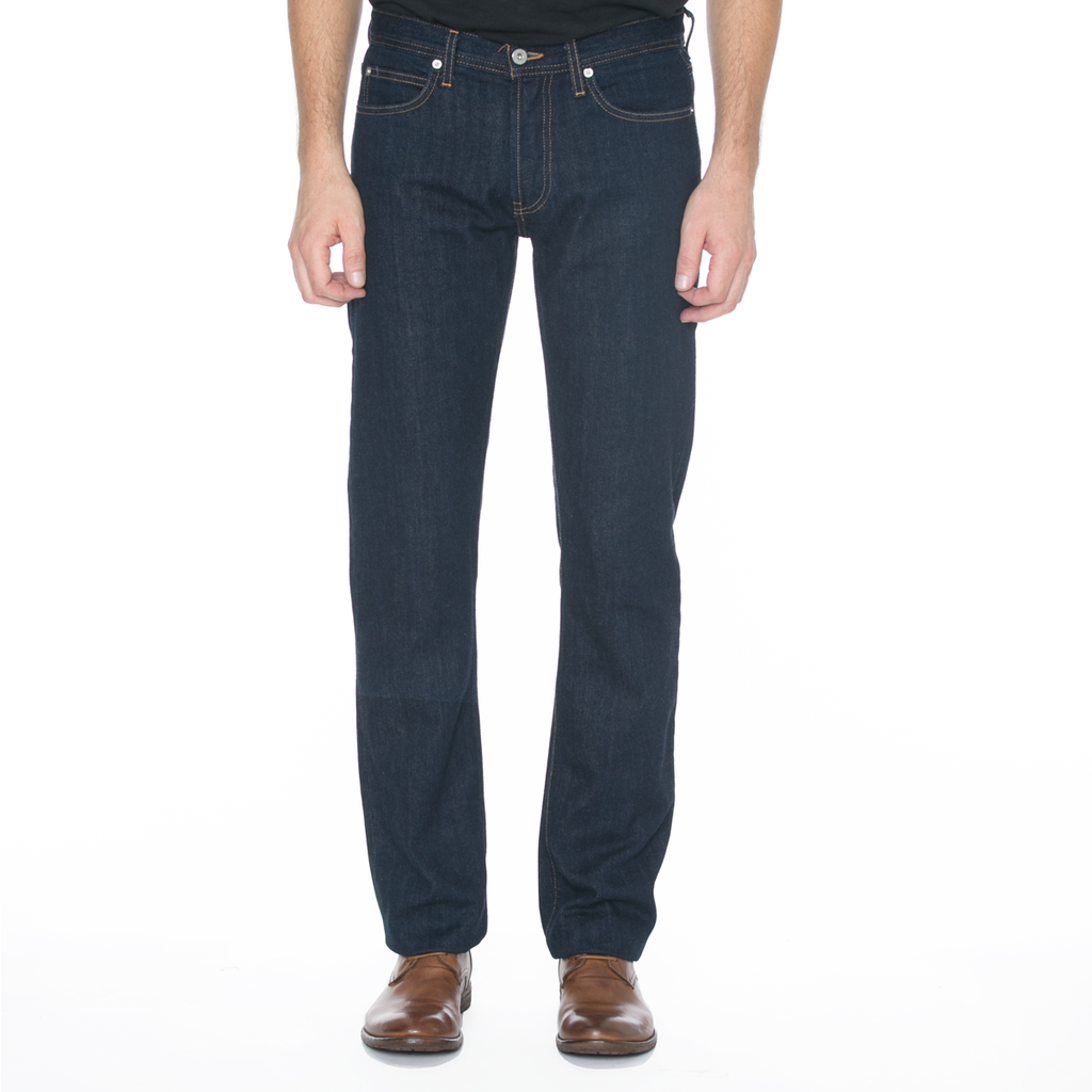 United Stock Dry Goods Slight Fit Indigo Rinsed Contrast Stitch Denim
