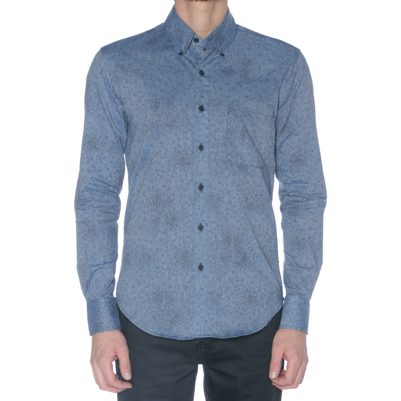 Chambray Square Print Long Sleeve Shirt - Sydney's, Toronto, Bespoke Suit, Made-to-Measure, Custom Suit,
