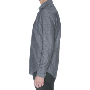 Charcoal Linen Blend Long Sleeve Shirt - Sydney's, Toronto, Bespoke Suit, Made-to-Measure, Custom Suit,