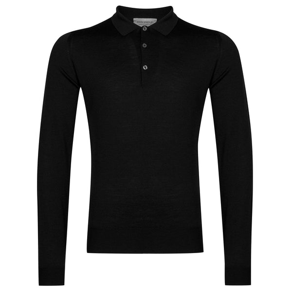 Black Belper Merino Long Sleeve Knit Polo Sweater