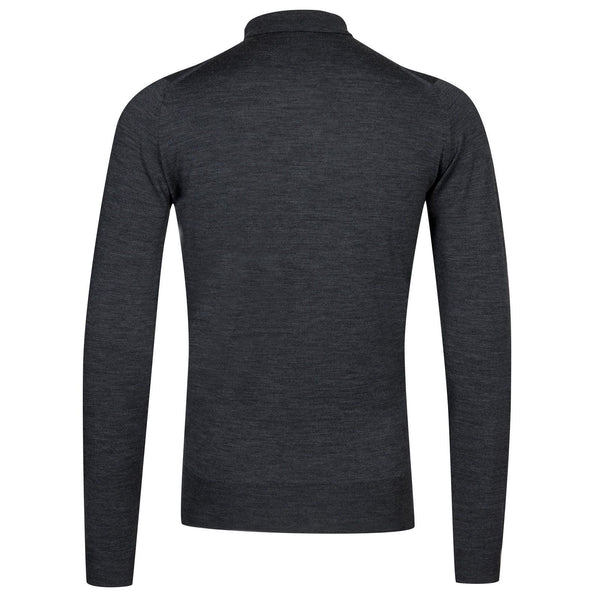 Charcoal Belper Merino Long Sleeve Knit Polo Sweater