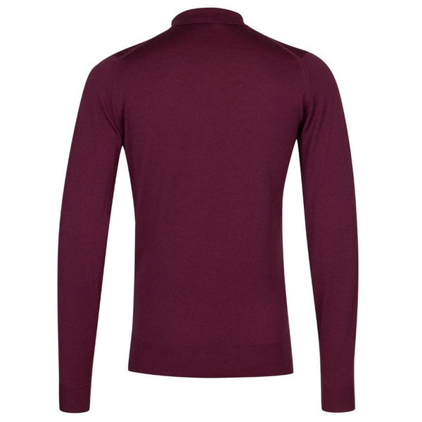 English Plum Belper Merino Long Sleeve Knit Polo Sweater