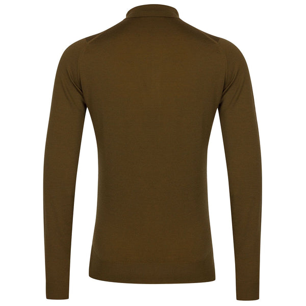 Khaki Belper Merino Long Sleeve Knit Polo Sweater