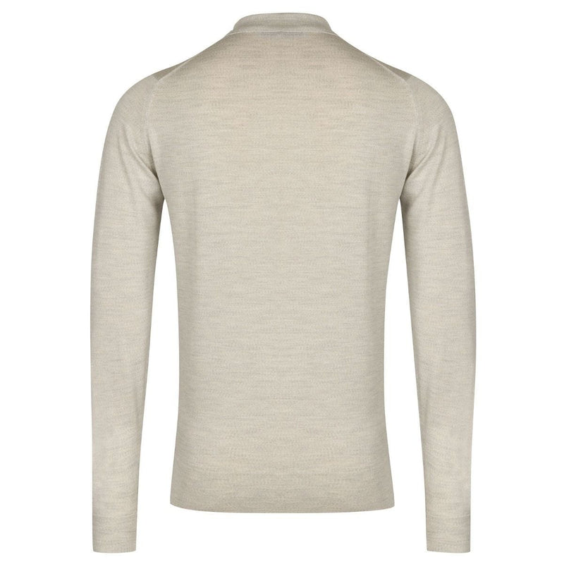 Morning Mist Belper Merino Long Sleeve Knit Polo Sweater