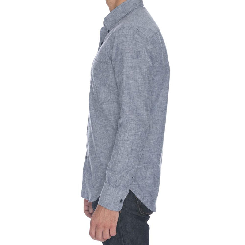 Blue Brushed Chambray Long Sleeve Shirt - Sydney's, Toronto, Bespoke Suit, Made-to-Measure, Custom Suit,