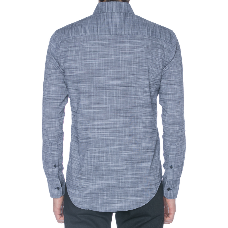 Navy Warped Slub Long Sleeve Shirt - Sydney's, Toronto, Bespoke Suit, Made-to-Measure, Custom Suit,