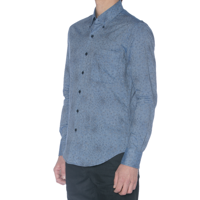 United Stock Dry Goods Chambray Square Print Long Sleeve Shirt