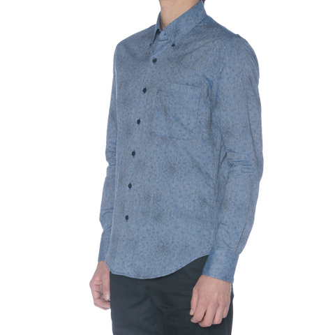 Blue Cotton Linen Dotted Square Hidden Button Down Dress Shirt