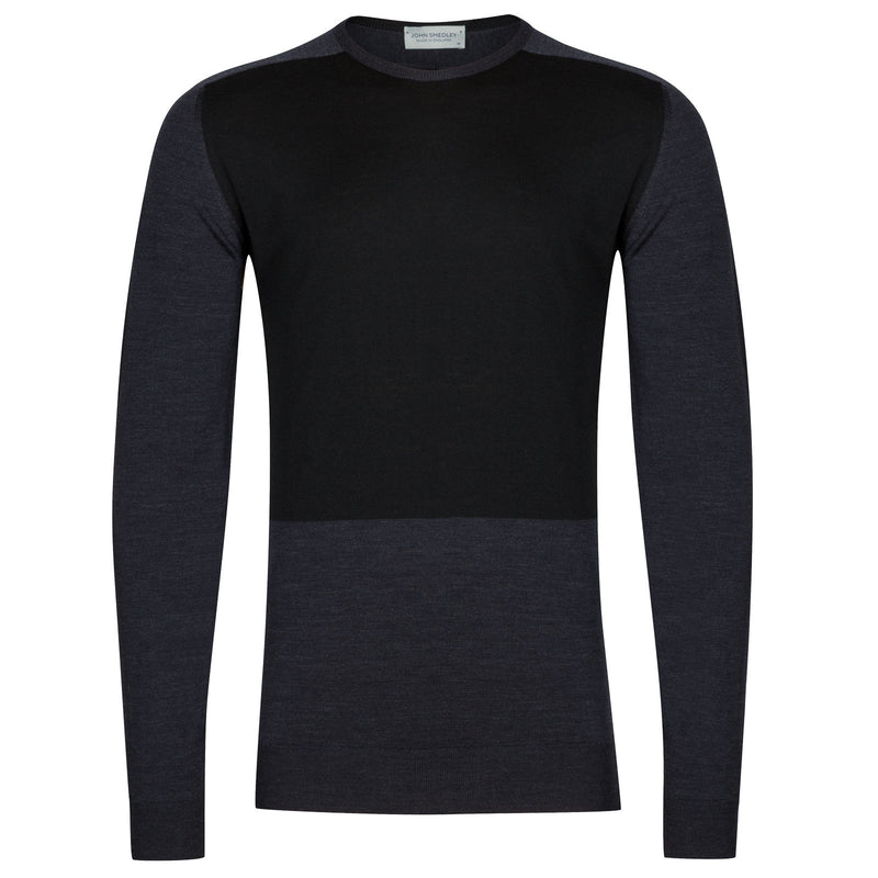 Holt Crewneck Pullover Sweater, Hepburn Smoke & Black