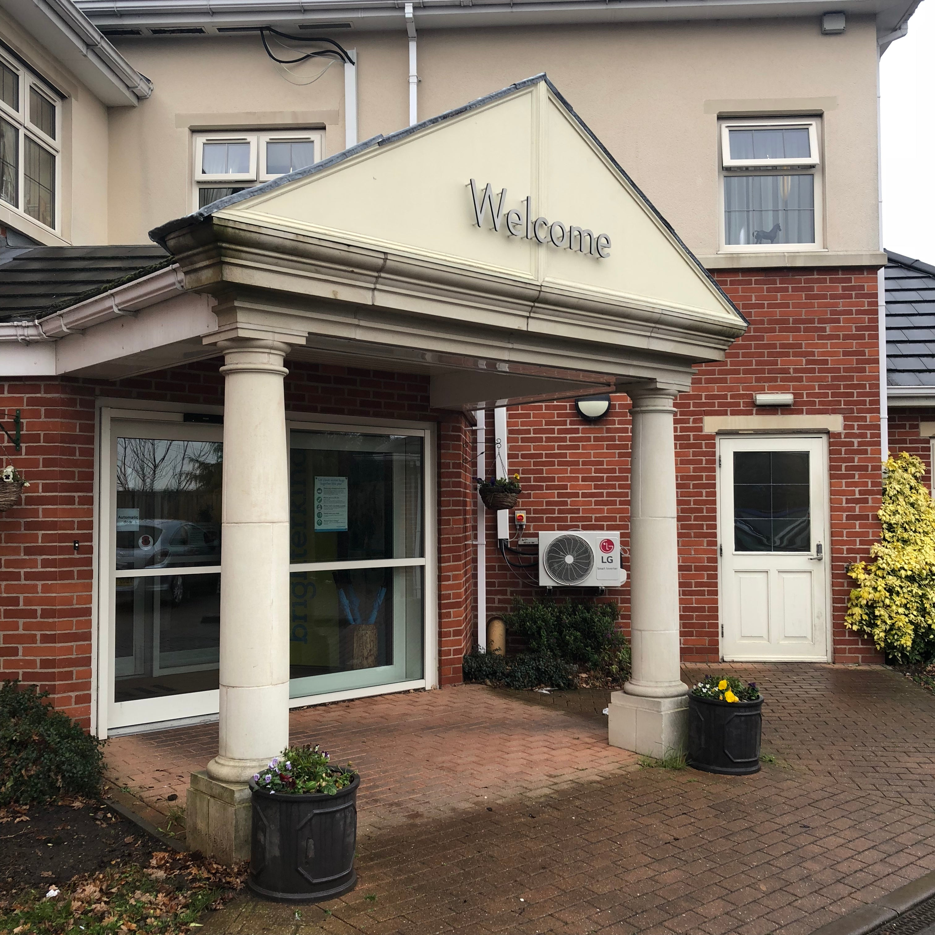 The entrance to Hall Park Care Home in Nottingham