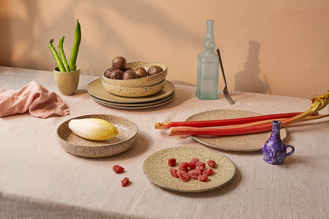 table setting with rutabagas on gradient ceramic plate