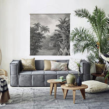 Living room with xxl wall chart and grey canvas couch