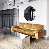 3 seater in ochre velvet sofa with mirror coffee table