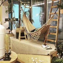 Bohemian hammock in an indoor setting