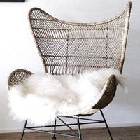 Bohemian natural braid egg chair with sheep skin for extra comfort