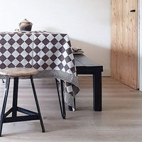 table with traditional Dutch checkered cotton tablecloth