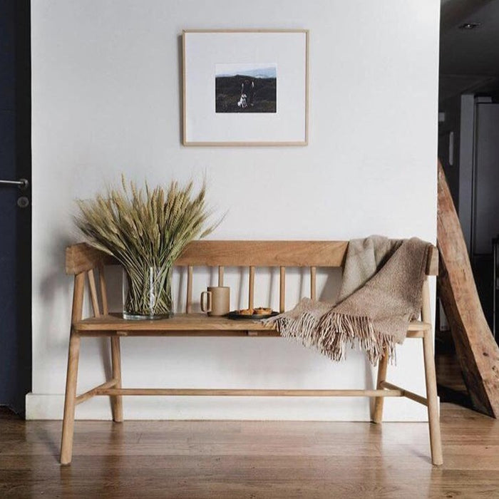 Wooden bench styled for rue magazine