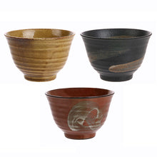 set of 3 ceramic matcha bowls in ochre red and dark grey