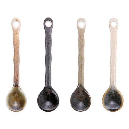 set of 4 ceramic tea spoons
