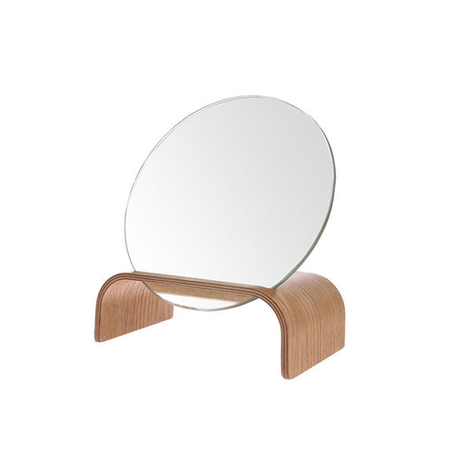 willow wood mirror stand with round mirror