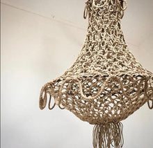 Knotted rope chandelier - natural