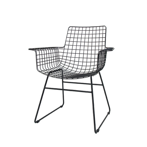 FUR0020 hk living metal wire chair with armrest  in black