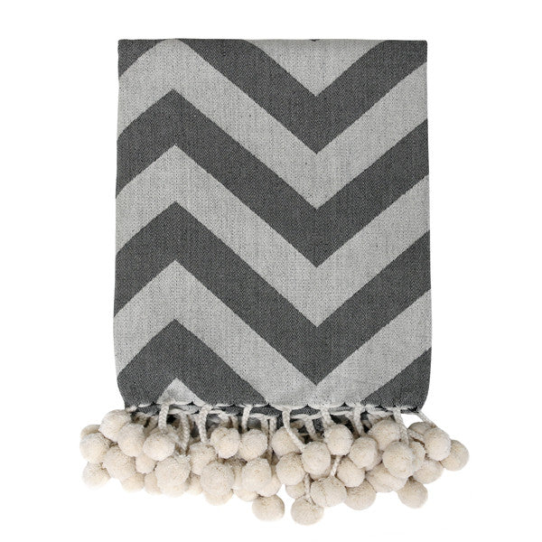woven throw with pompons and grey and black and white design
